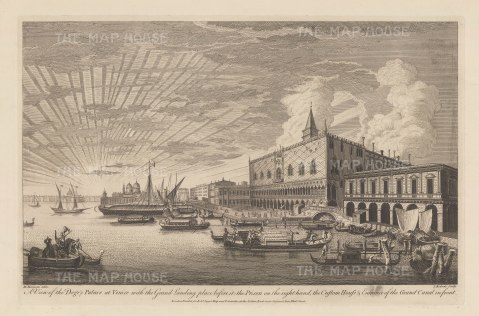 Palazzo Ducale: Panoramic view of the Palace, the Ponte dei Sospiri, Prigioni Nuove, Dogana di Mari and entrance to the Grand Canal.