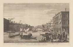 Rialto Bridge: View towards the bridge with the Palazzo Dolfin Manin and the Wine Wharf. After Michele Marieschi.