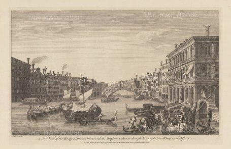 View towards the bridge with the Palazzo Dolfin Manin and the Wine Wharf. After Michele Marieschi.