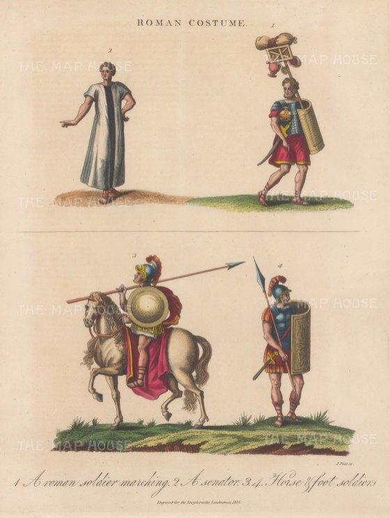 Roman Costume. Cavalry, Senator and Soldiers