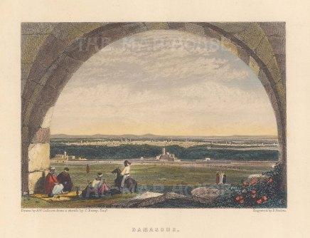 "Fullarton: Damascus. 1856. A hand coloured original antique steel engraving. 5"" x 4"". [MEASTp1709]"