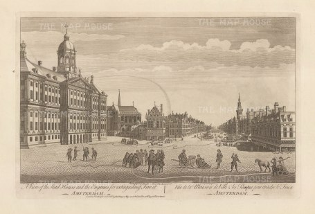 Dam Square with the Royal Palace on the left, and 'fire engines' extinguishing a fire.