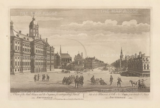 Dam Square: With the Royal Palace on the left, and 'fire engines' extinguishing a fire