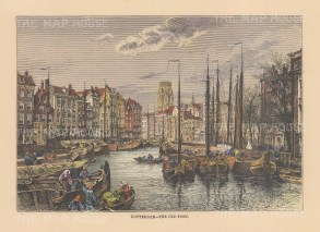 "Reclus: Rotterdam, Netherlands. 1894. A hand coloured original antique wood engraving. 8"" x 6"". [NETHp207]"