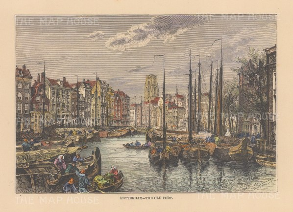 "Reclus: Rotterdam. 1894. A hand coloured original antique wood engraving. 8"" x 6"". [NETHp207]"