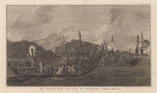 Oparree (Pare). Tahitian war-boats off the coast of the northern province. After William Hodge, artist on the Second Voyage. Dutch edition.
