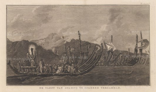 Oparree (Pare): Tahitian war-boats off the coast of the northern province. After William Hodge, artist on the Second Voyage. Dutch edition.