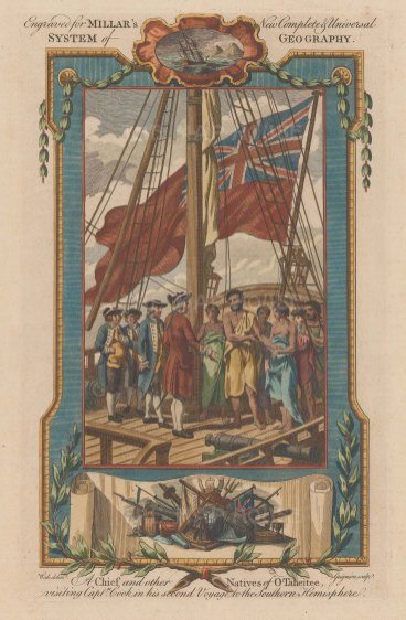 Captain Cook. Tahitian Chief and entourage visiting Captain Cook on HMS Resolution. Second Voyage. With decorative border.