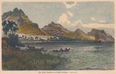 Huahine Island: View of the inlet between Huahine Nui (Greater) and Huahine Iti (Lesser).