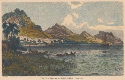 Huahine Island. View of the inlet between Huahine Nui (Greater) and Huahine Iti (Lesser).