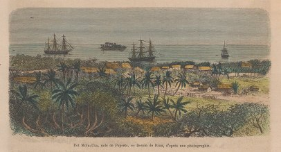 "Garnier: Mota-Uta Island, Tahiti. 1876. A hand coloured original antique wood engraving. 6"" x 4"". [PLYp227]"