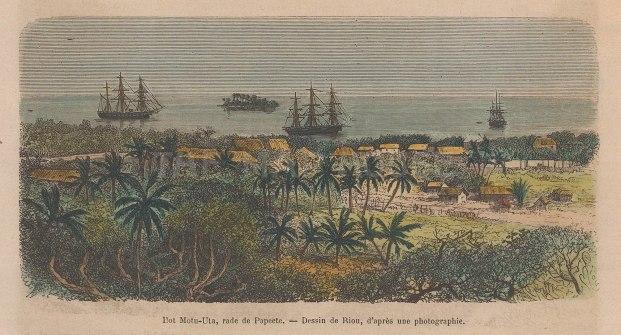 "Garnier: Mota-Uta Island, Tahiti. 1876. A hand coloured original antique wood engraving. 6"" x 4"". [PLYp227]"