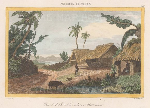 "de Rienzi: Nomuka Island, Tonga. 1837. A hand coloured original antique steel engraving. 6"" x 4"". [PLYp262]"