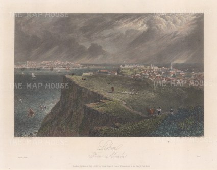"Batty: Lisbon. 1830. A hand coloured original antique steel engraving. 9"" x 6"". [PORp98]"