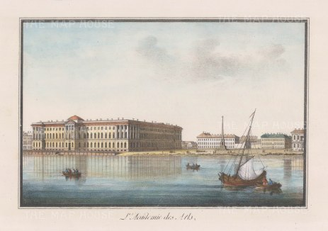 "Alexandriev: Imperial Academy of Arts, St Petersburg. 1828. A hand coloured original antique lithograph. 16"" x 12"". [RUSp467]"