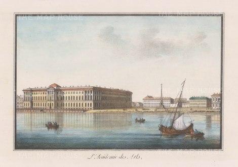 "Alexandriev: Imperial Academy of Arts, St Petersburg. 1828. A hand coloured original antique lithograph. 16"" x 12"". [RUSp467]"