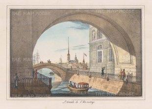 "Alexandriev: Hermitage, St Petersburg. 1828. A hand coloured original antique lithograph. 16"" x 12"". [RUSp468]"