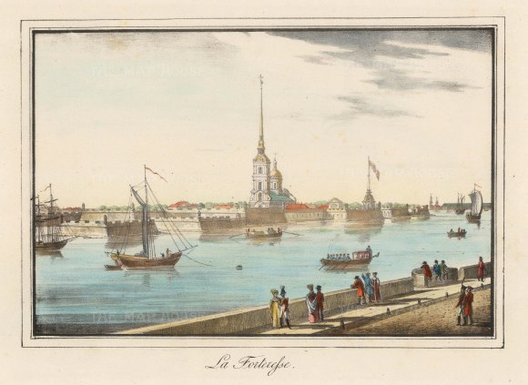 "Alexandriev: Peter and Paul Fortress, St Petersburg. 1828. A hand coloured original antique lithograph. 16"" x 12"". [RUSp746]"
