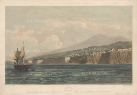 Rare: Panoramic view from the Black Sea of Anapa fortress and seafront