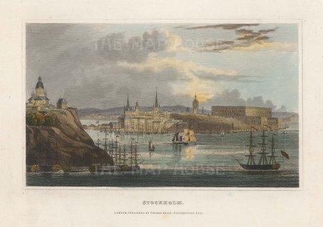 """Kelly: Stockholm, Sweden. 1840. A hand coloured original antique steel engraving. 6"""" x 4"""". [SCANp345]"""