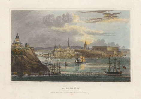 "Kelly: Stockholm, Sweden. 1840. A hand coloured original antique steel engraving. 6"" x 4"". [SCANp345]"