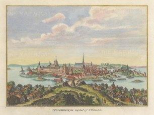 """Hogg: Stockholm, Sweden. 1793. A hand coloured original antique copper engraving. 7"""" x 5"""". [SCANp359]"""