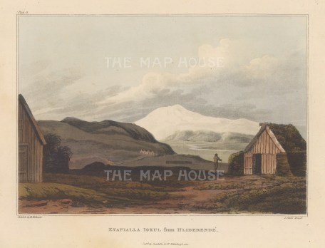 View from Hliderende. Rare view sketched by Mackenzie on his geological expedition to Iceland.