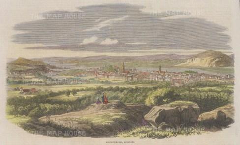 "Illustrated London News: Gottenburg, Sweden. 1861 A hand coloured original antique wood engraving. 10"" x 6"". [SCANp371]"