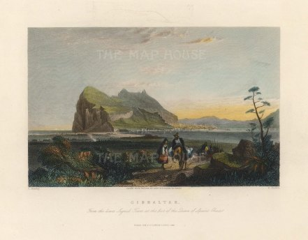 "Fisher: Gibraltar. 1839. A hand coloured original antique steel engraving. 8"" x 7"". [SPp1067]"