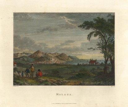 "Swinburne: Malaga, Spain. 1806. A hand coloured original antique copper engraving. 12"" x 10"". [SPp1079]"