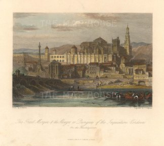 "Fisher: Cordoba. c1840. A hand coloured original antique steel engraving. 6"" x 5"". [SPp1083]"