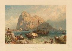 """Cassell & Co. Gibraltar. c1890. A hand coloured original antique chromolithograph. 8"""" x 7"""". [SPp1086]"""
