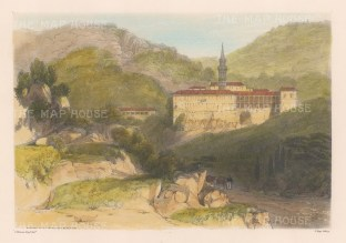 """Vivian: Convent of St. Jerome, Monserrat Mountains. 1838. An original colour antique lithograph. 11"""" x 7"""". [SPp833]"""