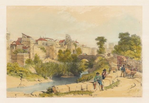"""Vivian: Seville. 1838. An original colour antique lithograph. 17"""" x 12"""". [SPp852]"""