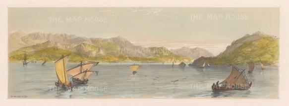"""Vivian: Bay of Vigo. 1838. An original colour antique lithograph. 15"""" x 5"""". [SPp865]"""