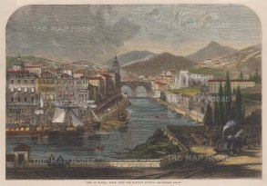 "Illustrated London News: Bilbao. 1862. A hand coloured original antique wood engraving. 14"" x 10"". [SPp999]"