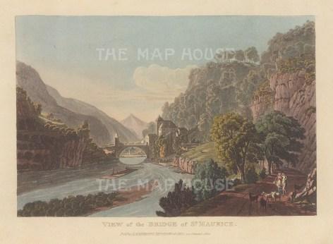 "Ackermann: St Maurice, Switzerland. 1820. An original colour antique aquatint. 9"" x 6"". [SWIp758]"