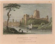 "Dugdale: Pembroke Castle. c1830. A hand coloured original antique steel engraving. 4"" x 3"". [WCTSp465]"