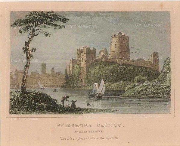 """Dugdale: Pembroke Castle. c1830. A hand coloured original antique steel engraving. 4"""" x 3"""". [WCTSp465]"""