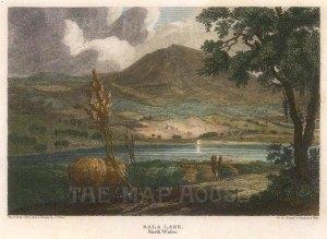 "Harris: Llyn Tegid (Bala Lake). 1813. A hand coloured original antique steel engraving. 5"" x 4"". [WCTSp480]"