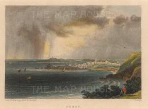 "Roscoe: Tenby. 1836. A hand coloured original antique steel engraving. 5"" x 4"". [WCTSp486]"