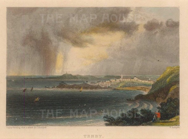 "Roscoe: Tenby. 1836. A hand coloured original antique steel engraving. 5"" x 4"". [WCTSp486]"