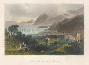 "Bartlett: Bangor. 1841. A hand coloured original antique steel engraving. 7"" x 5"". [WCTSp488]"