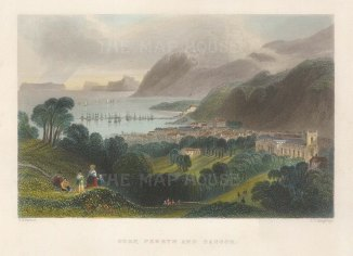 "Bartlett: Bangor. 1841. A hand coloured original antique steel engraving. 7"" x 5"". [WCTSp488]"