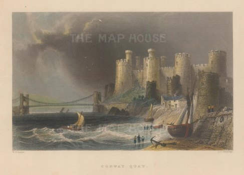 """Bartlett: Conway Castle. 1841. A hand coloured original antique steel engraving. 7"""" x 5"""". [WCTp489]"""