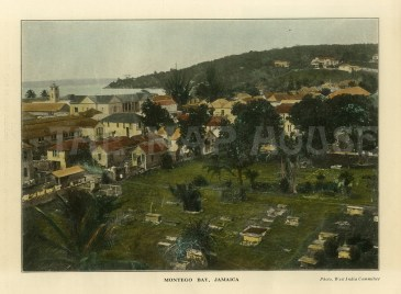 "WIC: Montego Bay, Jamaica. c1900. A hand coloured original antique photo-lithograph. 9"" x 7"". [WINDp1157]"