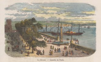"Garnier: Havana, Cuba. 1876. A hand coloured original antique wood engraving. 5"" x 4"". [WINDp1261]"