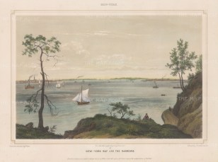 New York Bay: View of the Verrazano Narrows with Brooklyn and Staten Island in the distance.