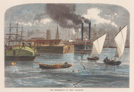 """Picturesque America: New Orleans, Louisiana. 1880. A hand coloured original antique wood engraving. """" x 6"""". [USAp4432]"""