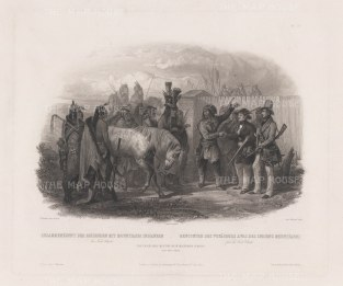 Minatarre Indians meeting European travellers: From one of the earlist expeditions to the American West, conducted by Prince Alexander Maximilian (Prussia) and Swiss artist Karl Bodmer.